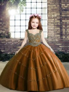 Simple Brown Straps Neckline Beading Pageant Gowns For Girls Sleeveless Lace Up