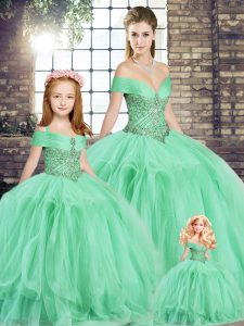 Beautiful Apple Green Sleeveless Floor Length Beading and Ruffles Lace Up Quinceanera Dress