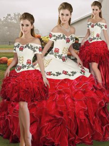 Designer White And Red Organza Lace Up Off The Shoulder Sleeveless Floor Length Quinceanera Dresses Embroidery and Ruffles