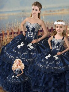 Noble Sweetheart Sleeveless Lace Up Quinceanera Gowns Navy Blue Satin and Organza