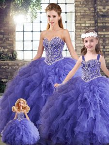 Floor Length Lace Up Sweet 16 Quinceanera Dress Lavender for Military Ball and Sweet 16 and Quinceanera with Beading and Ruffles