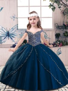 Sleeveless Tulle Floor Length Lace Up Little Girls Pageant Dress in Navy Blue with Beading