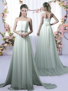Exceptional Apple Green Sleeveless Chiffon Brush Train Dama Dress for Quinceanera for Prom and Party and Wedding Party