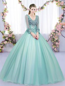 Tulle Long Sleeves Floor Length 15 Quinceanera Dress and Lace and Appliques