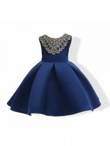 Satin Sleeveless Mini Length Kids Formal Wear and Appliques and Bowknot