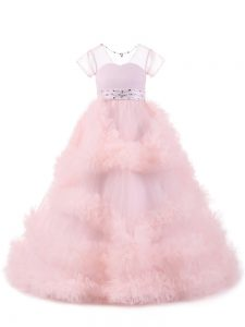 Dramatic Baby Pink Ball Gowns Beading and Ruffles Child Pageant Dress Backless Tulle Short Sleeves Floor Length