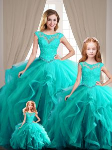 Perfect Aqua Blue Scoop Neckline Beading Quinceanera Gowns Cap Sleeves Lace Up