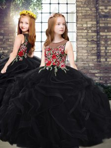 Tulle Sleeveless Child Pageant Dress Sweep Train and Embroidery and Ruffles
