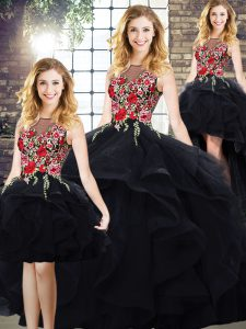 Low Price Black Ball Gowns Bateau Sleeveless Tulle Floor Length Lace Up Beading and Embroidery Sweet 16 Dresses