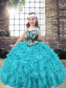Aqua Blue and Turquoise Sleeveless Floor Length Embroidery and Ruffles Lace Up Little Girl Pageant Dress