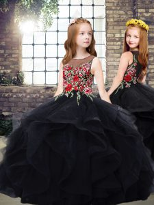 Black Ball Gowns Embroidery and Ruffles Pageant Dress for Womens Zipper Tulle Sleeveless Floor Length