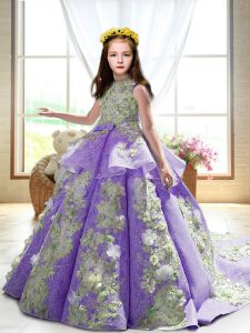 Pretty High-neck Sleeveless Court Train Backless Little Girl Pageant Dress Lavender Satin