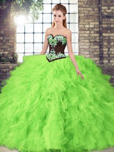 Sweetheart Lace Up Beading and Embroidery Quinceanera Gowns Sleeveless