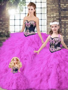 Glorious Fuchsia Sweetheart Lace Up Beading and Embroidery Sweet 16 Dresses Sleeveless