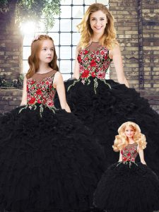 Eye-catching Sleeveless Floor Length Embroidery and Ruffles Zipper Quince Ball Gowns with Black