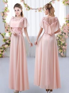 Low Price Short Sleeves Floor Length Appliques Zipper Court Dresses for Sweet 16 with Pink