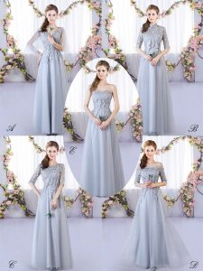 Suitable Grey Empire Appliques Dama Dress Lace Up Tulle Sleeveless Floor Length