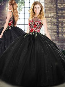 Black Zipper Quinceanera Gown Sleeveless Floor Length Embroidery