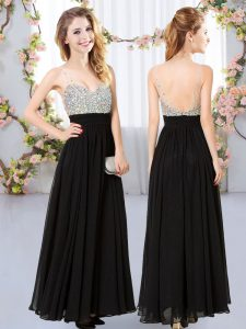 Glorious Black Sleeveless Beading Floor Length Quinceanera Court of Honor Dress