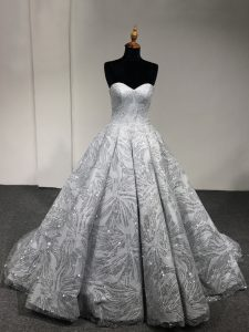 Fabulous Ball Gowns Quinceanera Gowns Silver Sweetheart Sleeveless Floor Length Lace Up