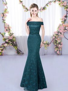 Eye-catching Peacock Green Lace Up Off The Shoulder Lace Vestidos de Damas Sleeveless