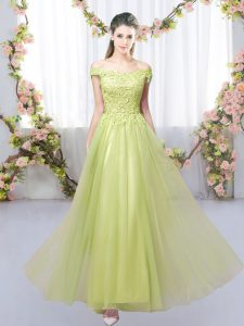 Sophisticated Yellow Green Tulle Lace Up Quinceanera Dama Dress Sleeveless Floor Length Lace