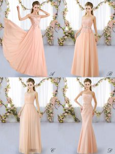 Peach Sleeveless Chiffon Lace Up Damas Dress for Prom and Party