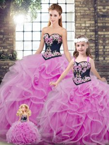 Cute Lilac Quinceanera Gowns Military Ball and Sweet 16 and Quinceanera with Embroidery and Ruffles Sweetheart Sleeveless Sweep Train Lace Up
