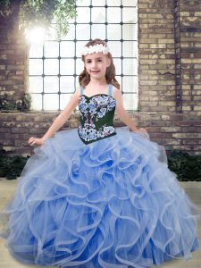Ball Gowns Little Girl Pageant Dress Light Blue Straps Tulle Sleeveless Floor Length Lace Up