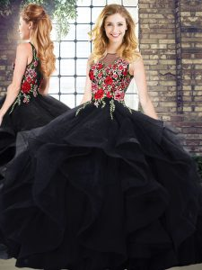 Embroidery and Ruffles Vestidos de Quinceanera Black Zipper Sleeveless Floor Length