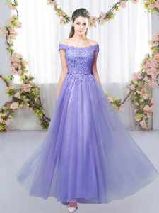 Sleeveless Tulle Floor Length Lace Up Quinceanera Court of Honor Dress in Lavender with Lace
