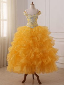 Sleeveless Floor Length Beading and Ruffled Layers Lace Up Little Girl Pageant Dress with Gold