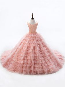 Trendy Pink Child Pageant Dress Wedding Party with Beading and Ruffled Layers Scoop Sleeveless Court Train Lace Up