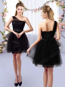 Enchanting Black Sleeveless Tulle Side Zipper Court Dresses for Sweet 16 for Prom and Party and Wedding Party
