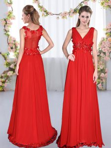Attractive Red Side Zipper Quinceanera Court of Honor Dress Beading and Appliques Sleeveless Floor Length