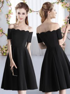 Top Selling Ruching Quinceanera Court of Honor Dress Black Zipper Short Sleeves Knee Length