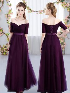 New Arrival Dark Purple Short Sleeves Floor Length Ruching Lace Up Dama Dress