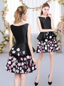 Lovely Sleeveless Mini Length Pattern Zipper Dama Dress for Quinceanera with Black