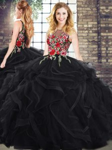 Luxurious Scoop Sleeveless Zipper Embroidery and Ruffles Quinceanera Dress in Black