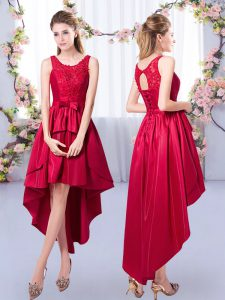 Excellent Scoop Sleeveless Satin Damas Dress Appliques Lace Up