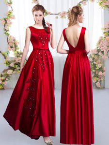 Wonderful Red Sleeveless Beading and Appliques Floor Length Dama Dress