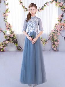 Dazzling Half Sleeves Lace Up Floor Length Lace Damas Dress