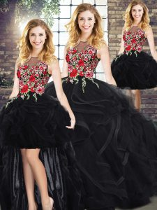 Classical Black Zipper Scoop Sleeveless Floor Length Sweet 16 Dress Embroidery and Ruffles