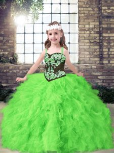 Sleeveless Lace Up Floor Length Embroidery and Ruffles Little Girls Pageant Dress