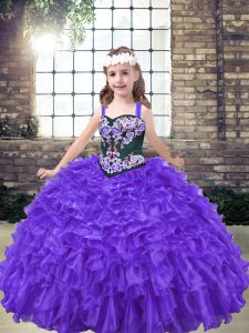 Pretty Purple Sleeveless Embroidery Floor Length Little Girl Pageant Gowns