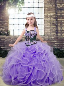 Sleeveless Embroidery and Ruffles Lace Up Kids Formal Wear