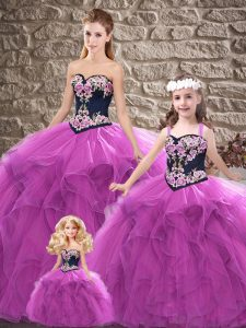 Luxury Purple Sleeveless Tulle Lace Up Quinceanera Gown for Sweet 16 and Quinceanera