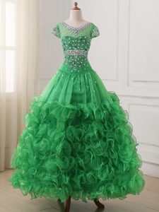 Lovely Cap Sleeves Organza Floor Length Lace Up Girls Pageant Dresses in Green with Beading and Ruffles