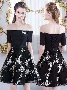 Chic Black Off The Shoulder Lace Up Appliques Quinceanera Court of Honor Dress Short Sleeves