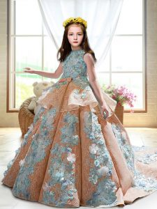 Satin Sleeveless Little Girls Pageant Dress Wholesale Court Train and Appliques